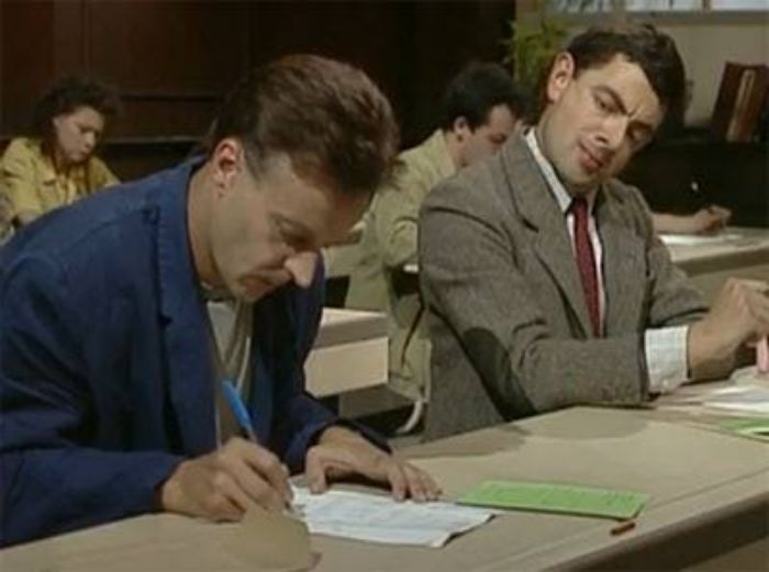 Mr Bean Copying Test School