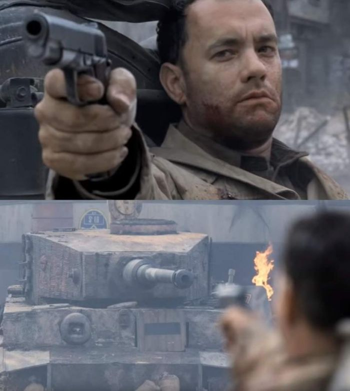 Shooting At Tank Saving Private Ryan
